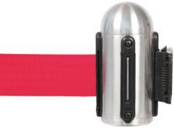 Hlavice na stěnu k natahovacímu zábr. systému, nerez, červená páska