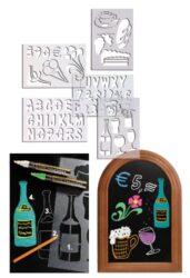 Šablony k popisovačům s čísly, symboly a písmeny, 5 ks