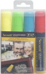 Sada 4 silných popisovačů, šířka hrotu 7-15 mm, červená, modrá, žlutá, zelená