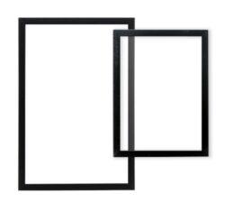 Nást.tab.se skleněnou oboustr.popis.plochou,černý rám,1xbílý+1xčerný popis.60x40(WBW-GL-BL-60)